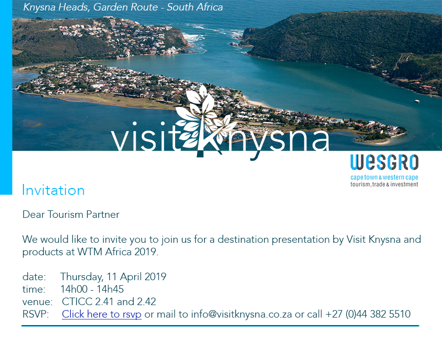 Visit Knysna – media presentation WTM Africa 2019